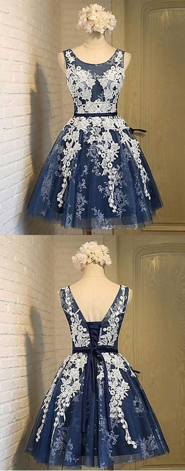 2019 navy blue homecoming dress,short lace up homecoming dress,cheap homecoming dress