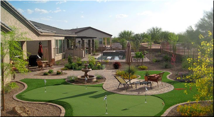 Backyard Putting Greens   Desert backyard, Small backyard ... on Small Backyard Putting Green id=82707