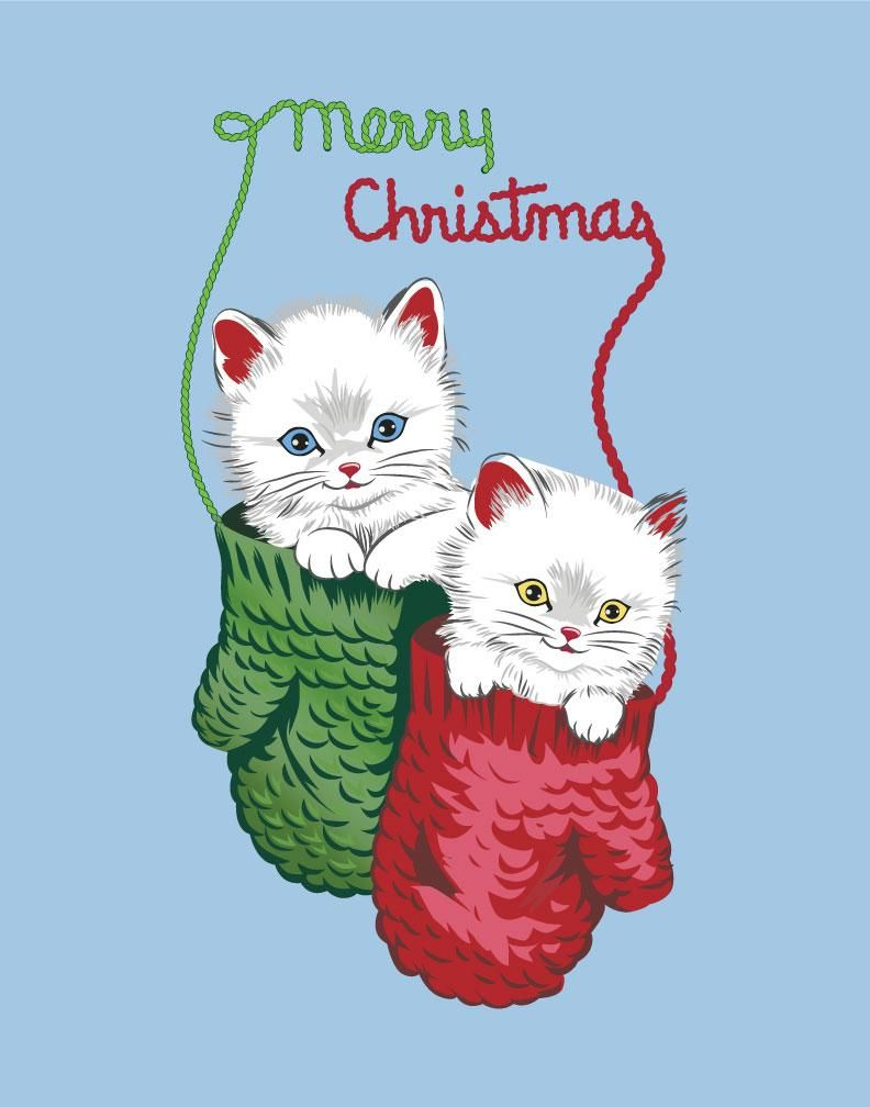 Merry Christmas Kittens In Mittens Print Christmas Kitten Christmas Prints Vintage Christmas Cards