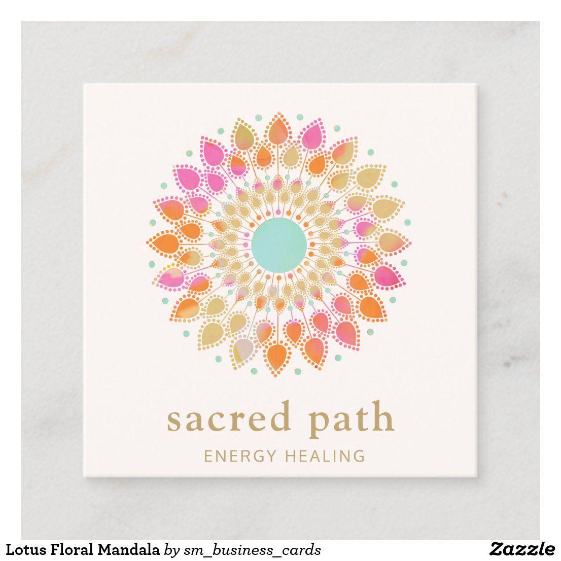 Lotus Floral Mandala Square Business Card in