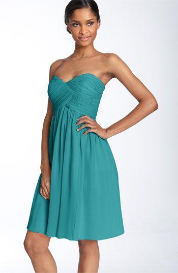 LOVE    Donna Morgan Strapless Silk Chiffon Dress available at Nordstrom