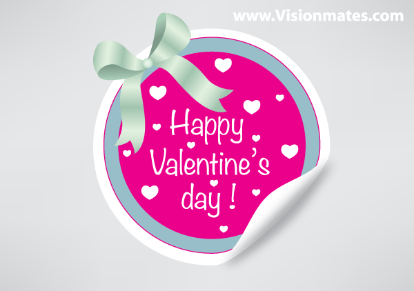 valentines day sticker vector free
