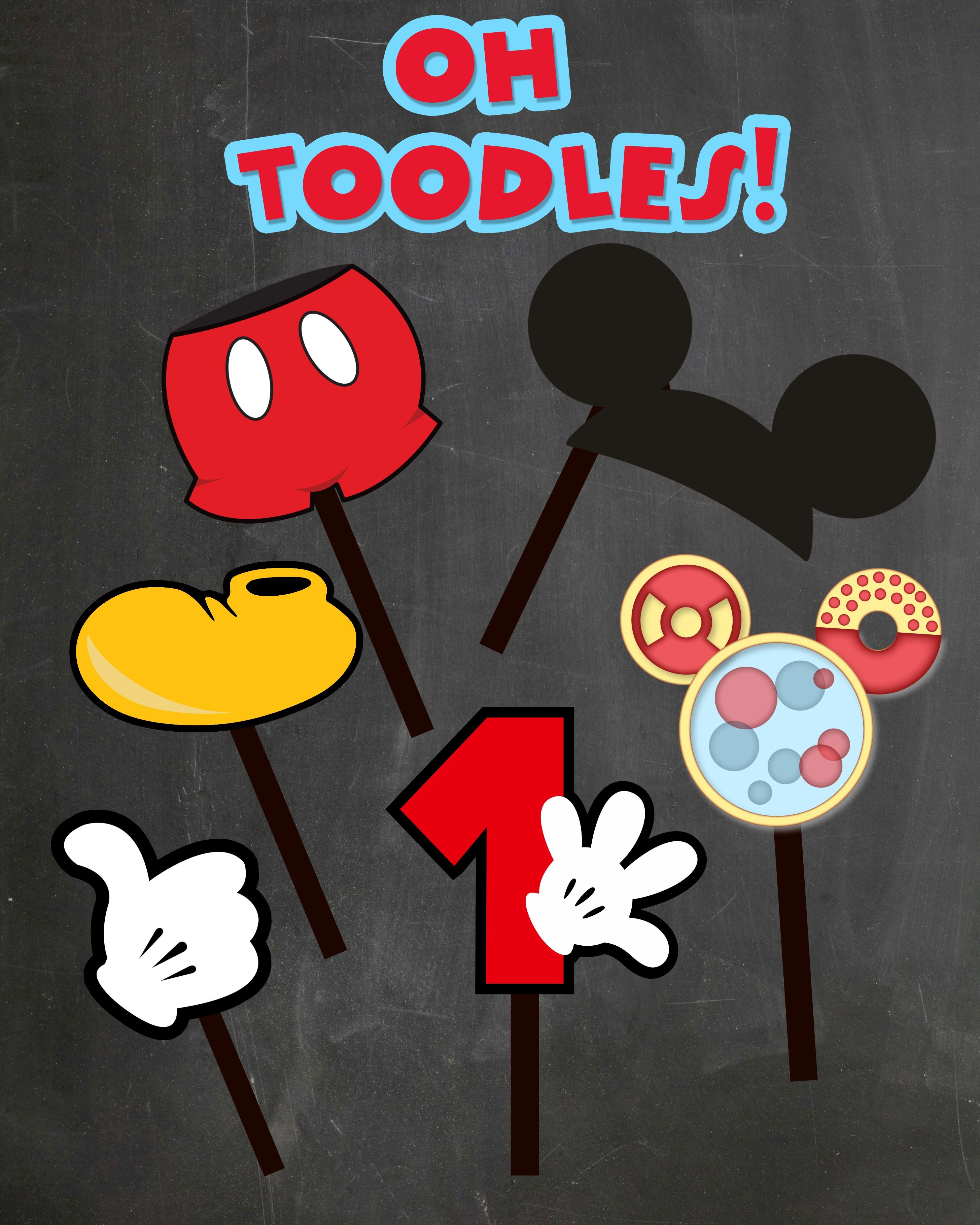 FREE PHOTO PROPS Mickey Mouse printable & templates | Mickey mouse