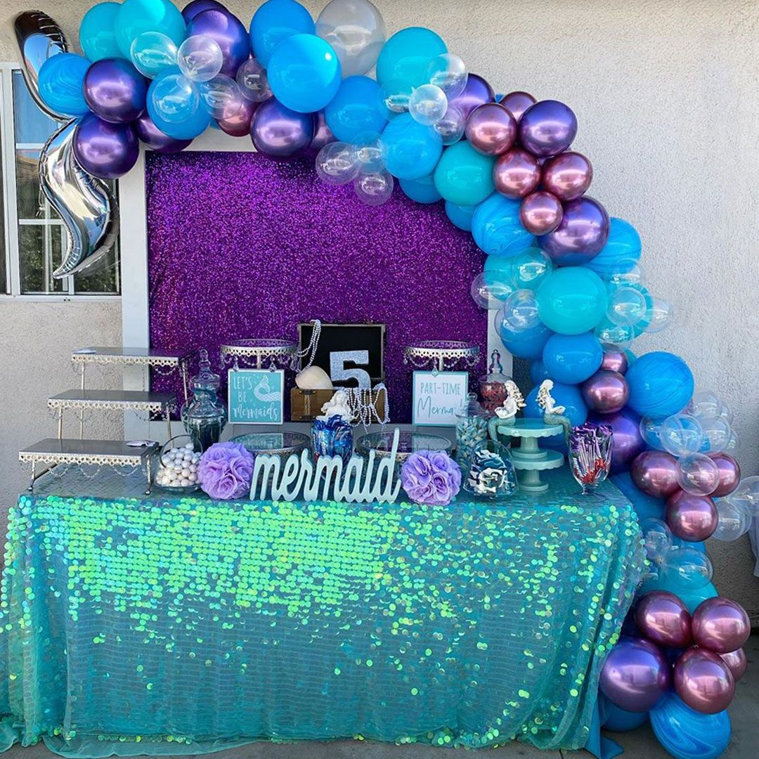 Cake Table Party Backdrop Under the Sea Stars Latex BalloonsMermaid Party Kit