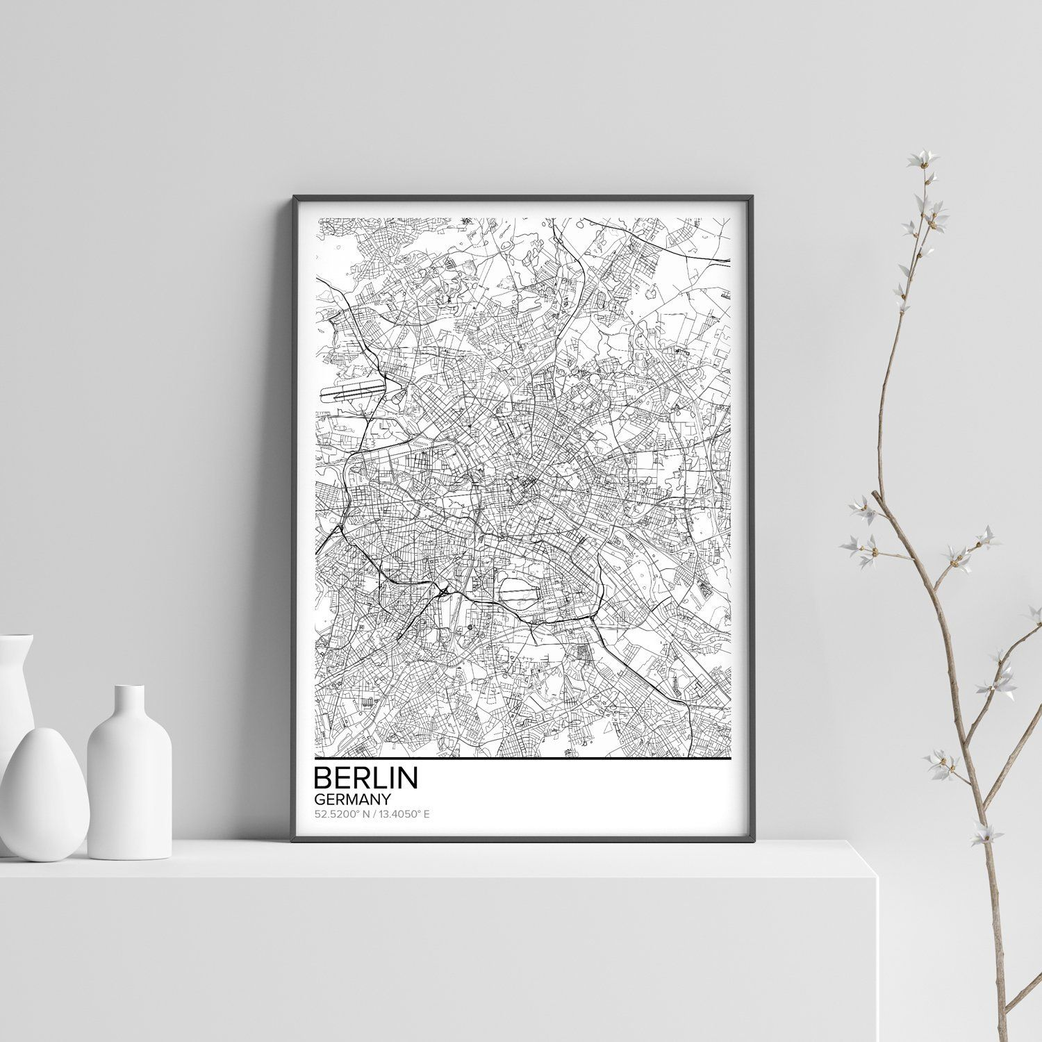 Poster Shop Berlin Berlin Map Poster Print Wall Art Germany Gift Printable Download