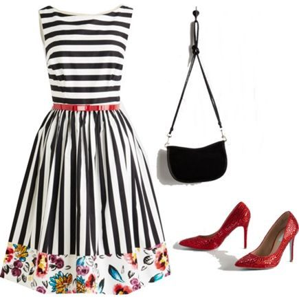 black and white striped dress with watercolor flowers