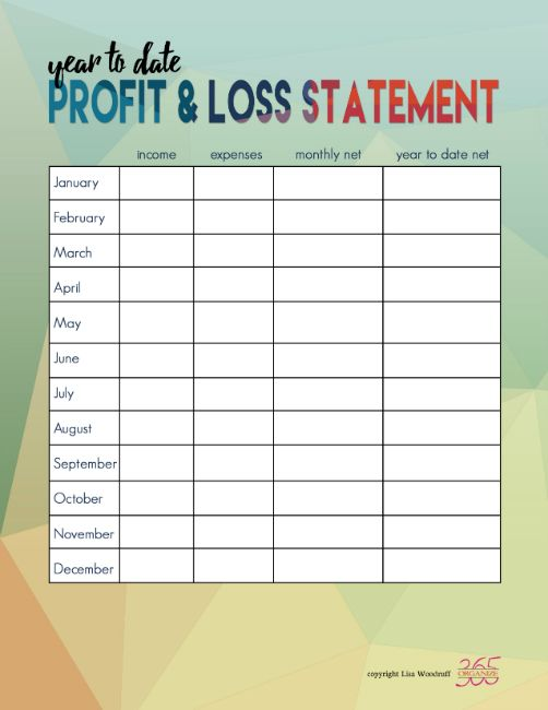 Income and Expense Tracking Printables Filing and Financial budget - profit and loss statement for self employed
