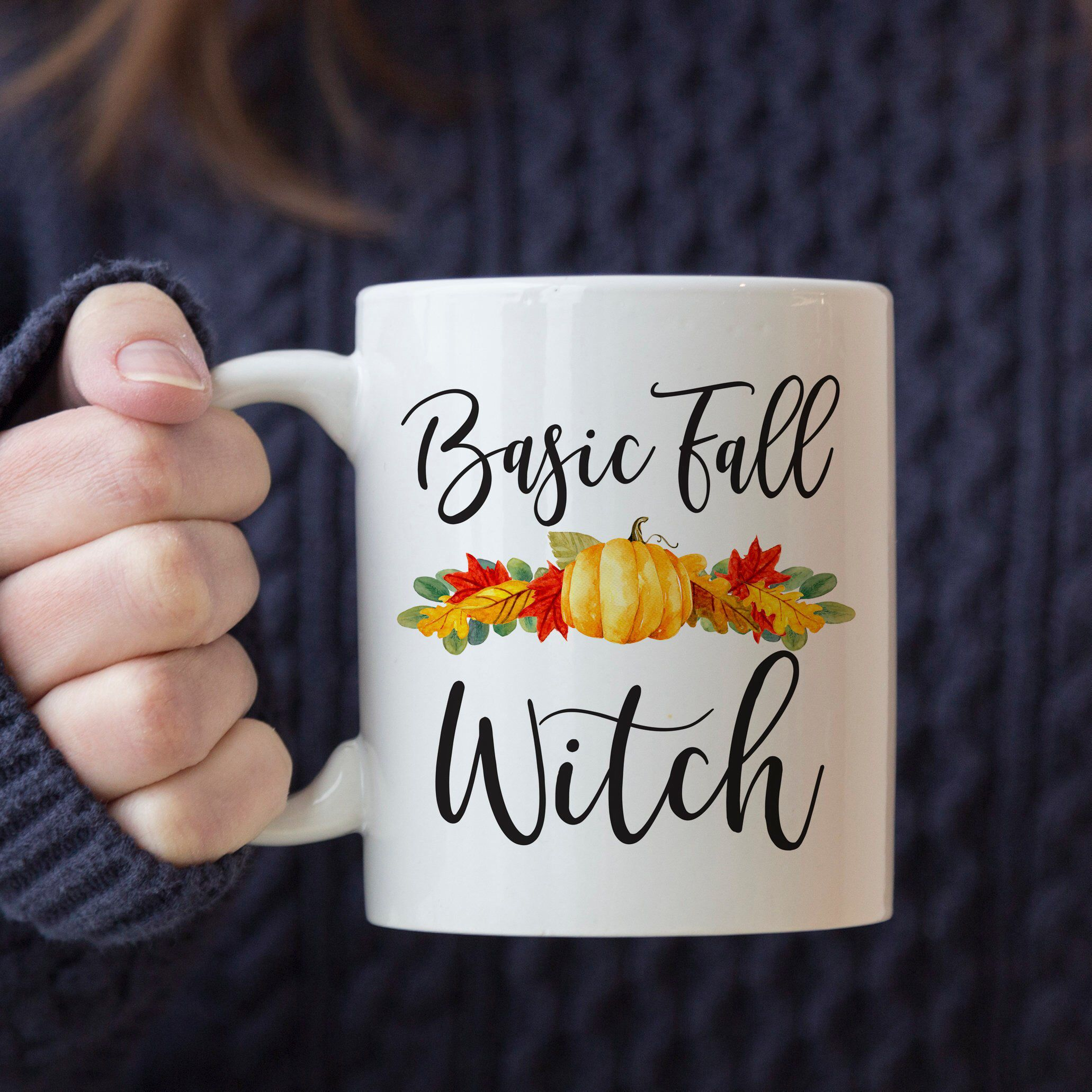 Basic Fall Witch Mug. Autumn Coffee Cup in Your Choice of