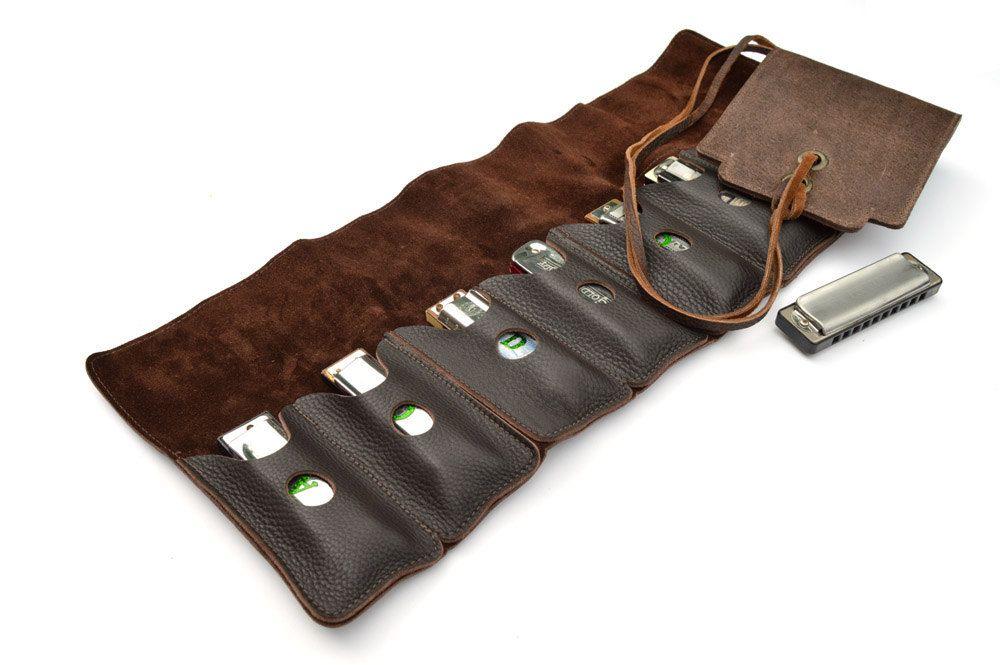 Straight8 leather harmonica case, harp case, leather