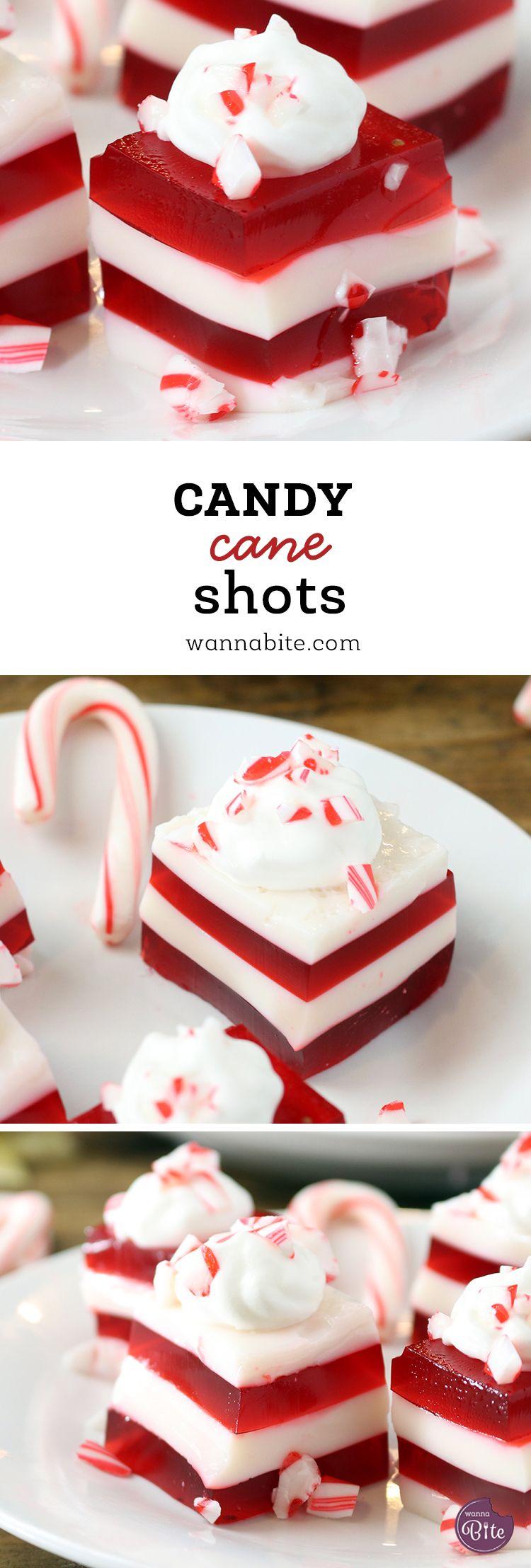 Candy Cane Jello Shots - Wanna Bite