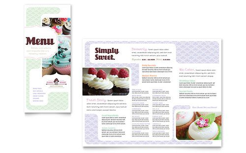 Bakery & Cupcake Shop - Menu Template Design Sample | Menu Design