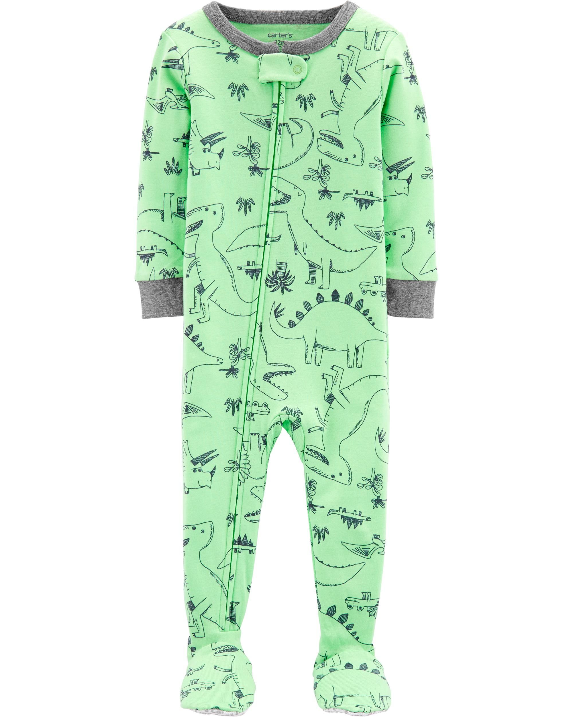 6eef0a2703c0 1-Piece Dinosaur Snug Fit Cotton Footie PJs