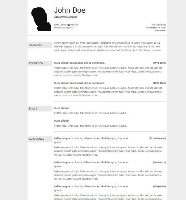 resume template in wordpress