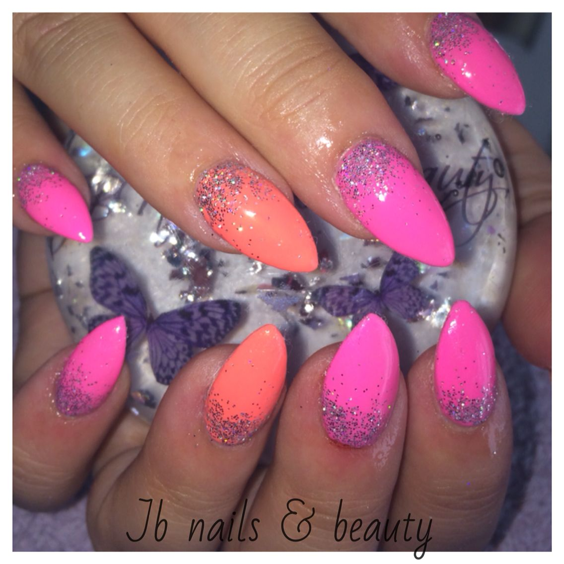 Bright Pink & Coral Nails With Silver Glitter