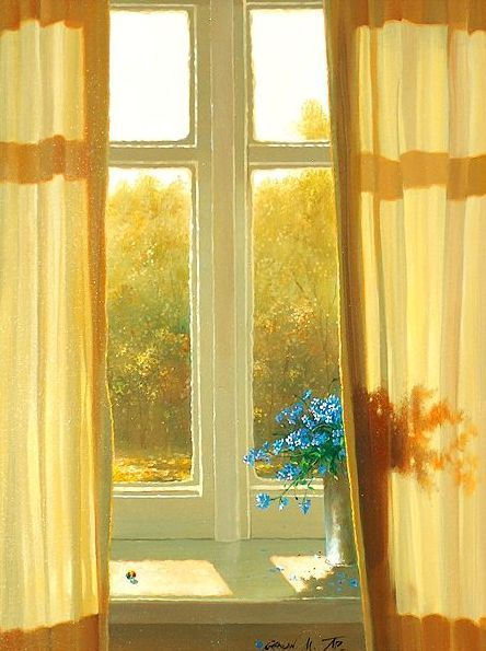 Who cares about the view outside the window when there are sunny yellow curtains and blue flowers inside the window! & Sunshine pouring through the curtains...begging you outside ...