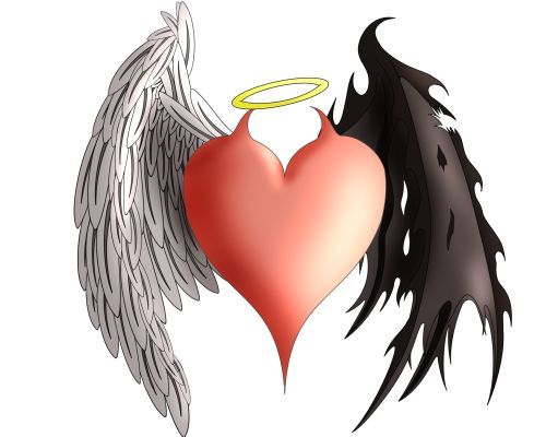 angel devil heart with