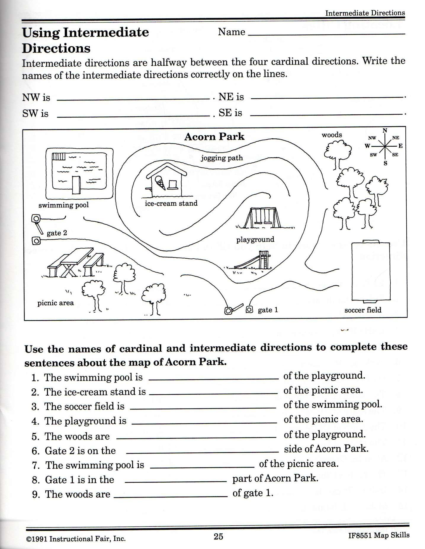 12 2nd Grade Cardinal Directions Worksheet
