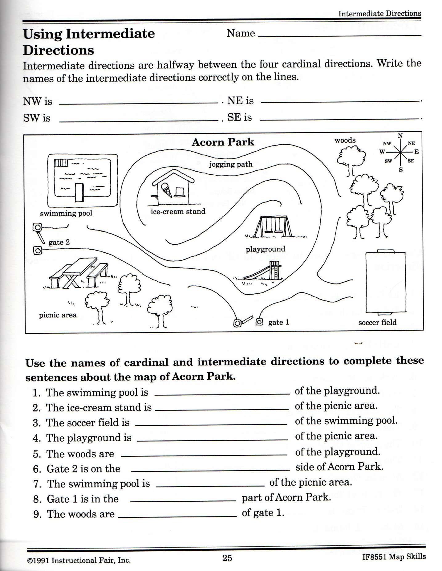 12 2nd Grade Cardinal Directions Worksheet