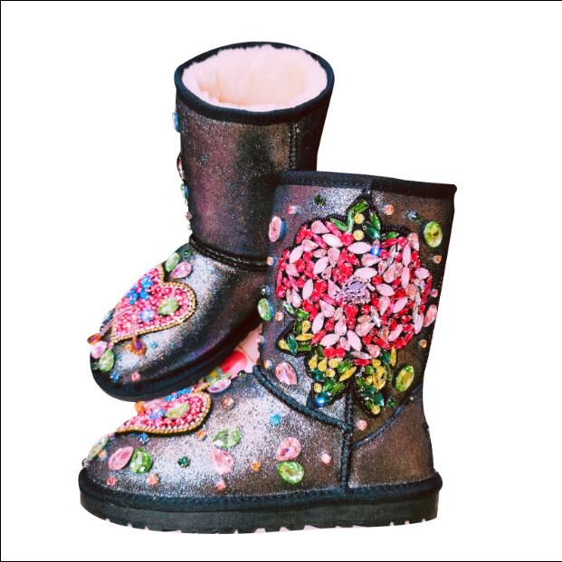 Joker Heavy Industry Handstitched Diamond Flower Fleece Leather Flatbottomed Hightop Womens Cott