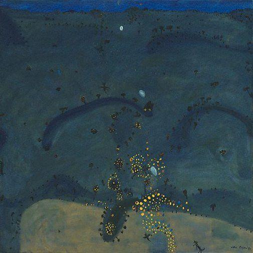 """John Olsen ~ """"Nightfall, when wattle stains the doubting heart"""" (1980) Oil on canvas"""