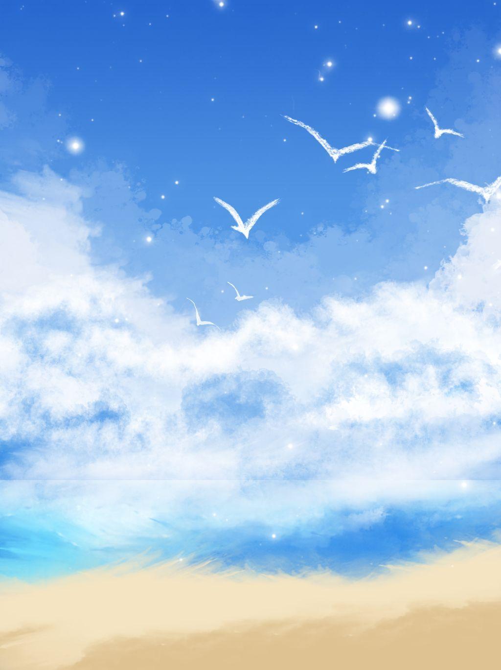 كامل مرسومة باليد سماء زرقاء غيوم بيضاء شاطئ البحر التوضيح خلفية ملصق In 2020 Blue Background Images Blue Sky Background Best Background Images