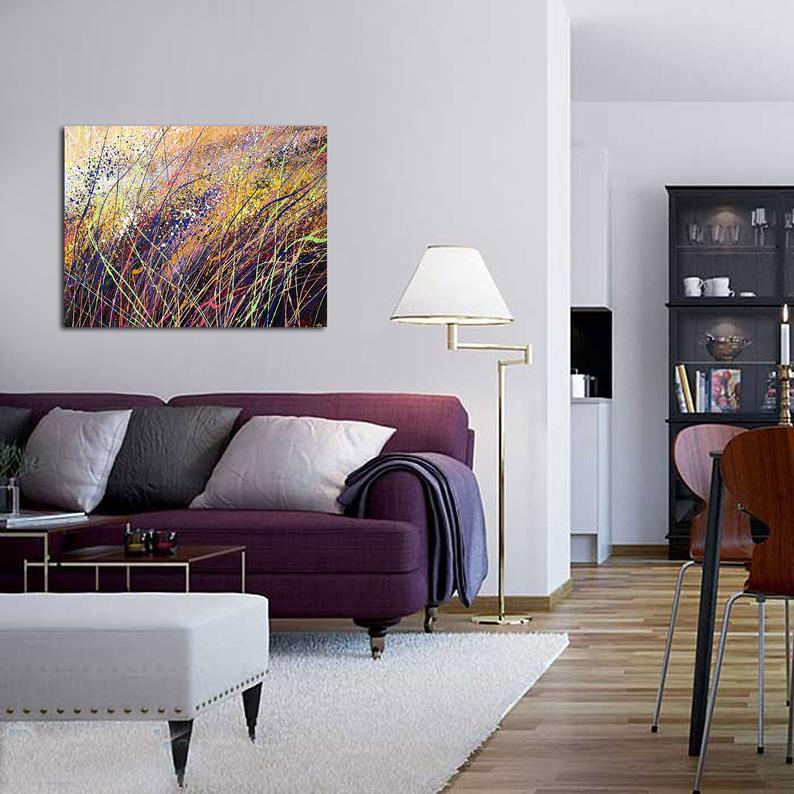 Purple Yellow Abstract Purple Modern Art Yellow Black Art Etsy Purple Living Room Living Room Decor Purple Living Room Scandinavian #purple #and #grey #living #room #walls