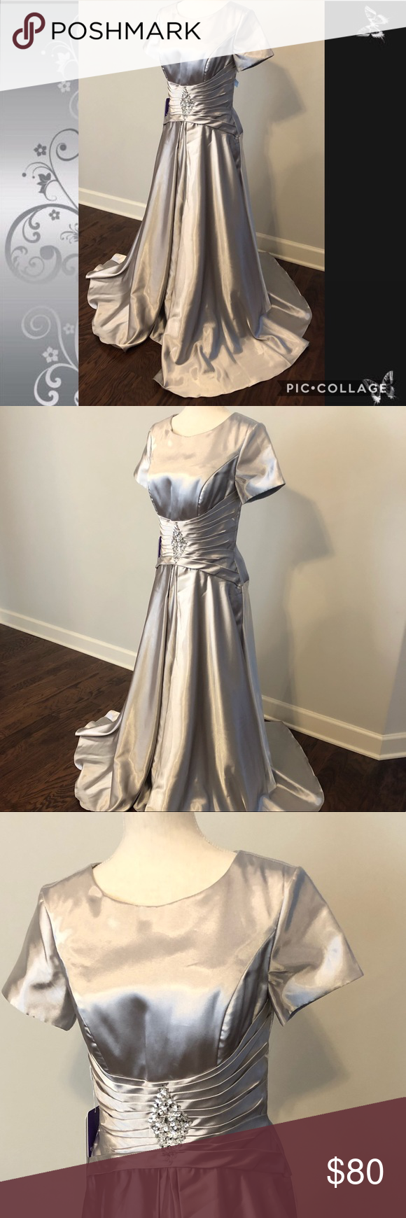d53c199eb75 JJ s House Drop Waist Mother of the Bride Gown JJ s House elegant mother of  the bride or special occasion gown in a beautiful liquid silver color.