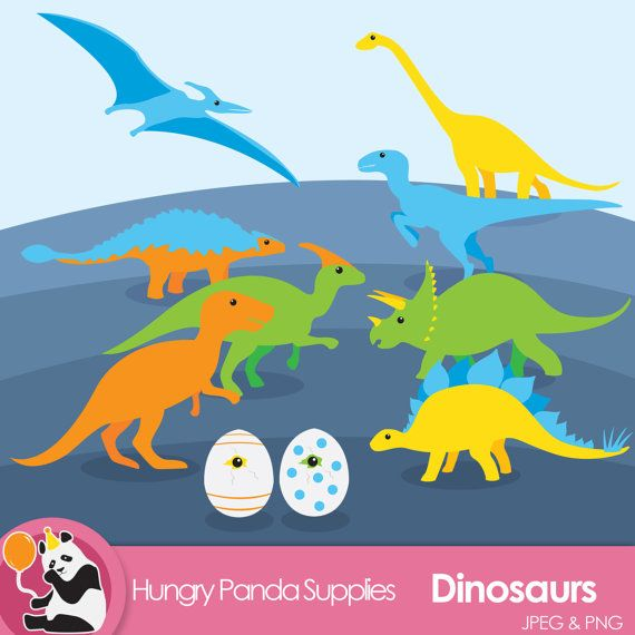There are 10 different clipart pieces in total, including: 8 dinosaurs and two dino eggs.  These are perfect for scrapbooking, card making,
