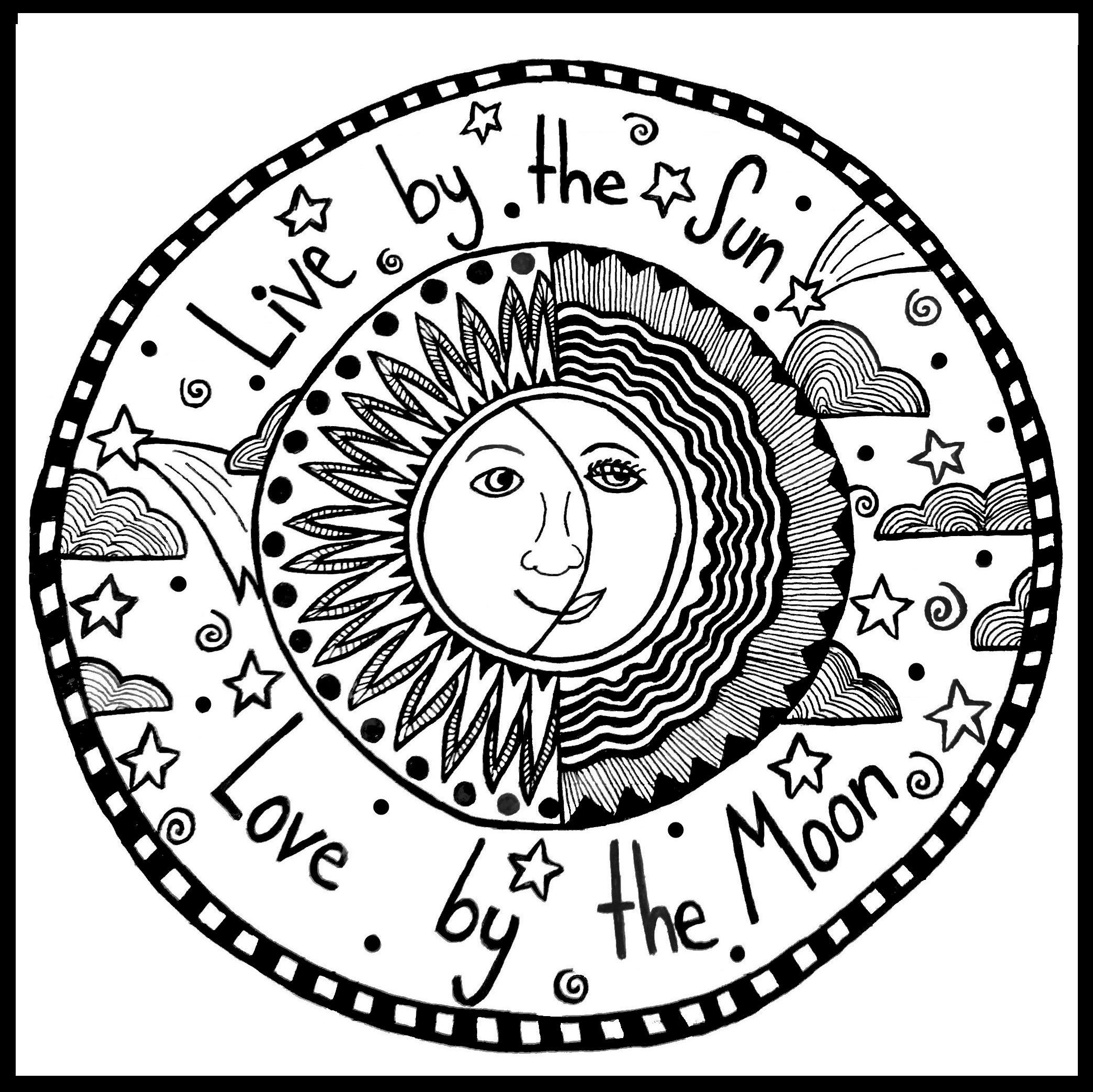 Coloring pages hippie - Live By The Sun Love By The Moon Peace Love Hippy Adult Coloring Pagescoloring