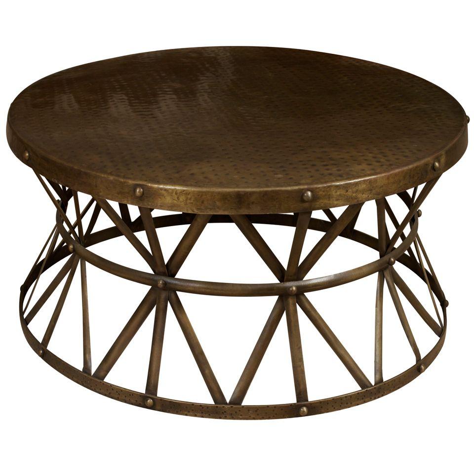 round black metal glass coffee table