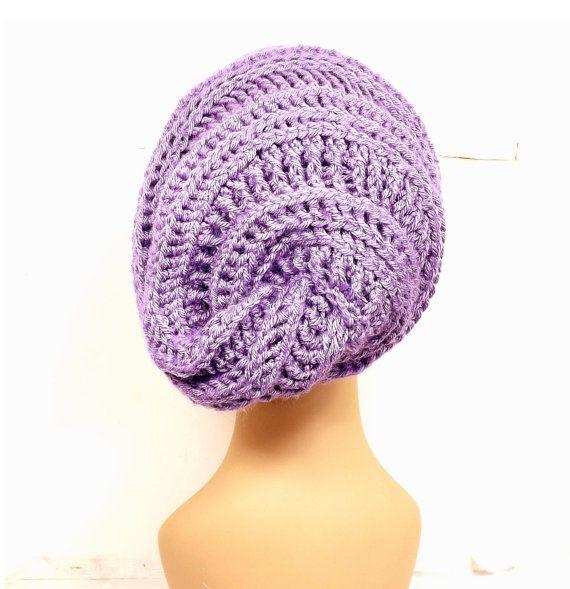 Amethyst Purple Crochet Hat Womens Hat Slouchy Hat Slouchy Beanie