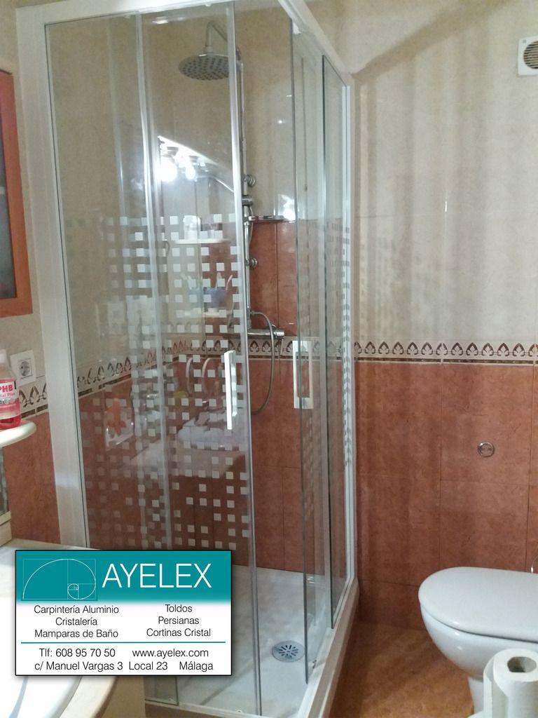 Mampara de ducha en vértice modelo CANCUN, compuesta por 2 fijos y 2 ...