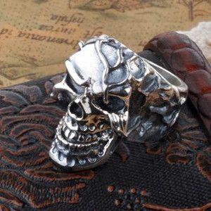buy Retro Silver Skull Ring Gothic Jewelry for Mens Retro