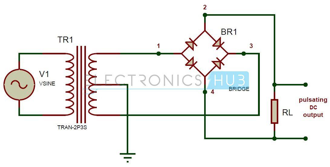 full wave bridge rectifier circuit working and applications rh pinterest com Selenium Rectifier Diagram Bridge Rectifier Circuit