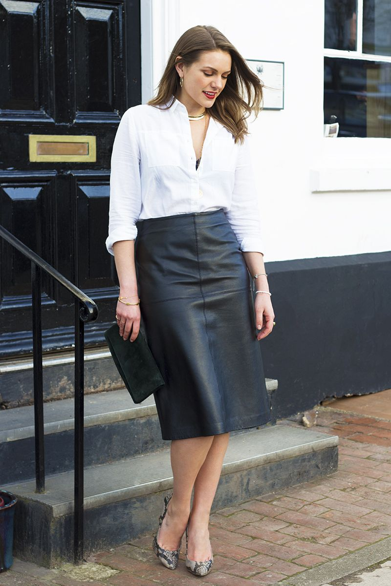 black leather skirt  classic white shirt  monica