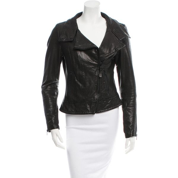 Pre-owned Mackage Leather Moto Jacket ($345) ❤ liked on Polyvore featuring outerwear, jackets, black, biker jackets, zipper leather jacket, zipper jacket, real leather jackets and 100 leather jacket