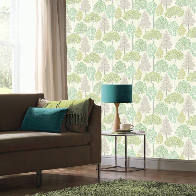 Arthouse Ellwood Trees Green Glitter Wallpaper