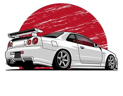 Nissan Skyline R34 vector art | cars | Cars, Nissan gtr skyline