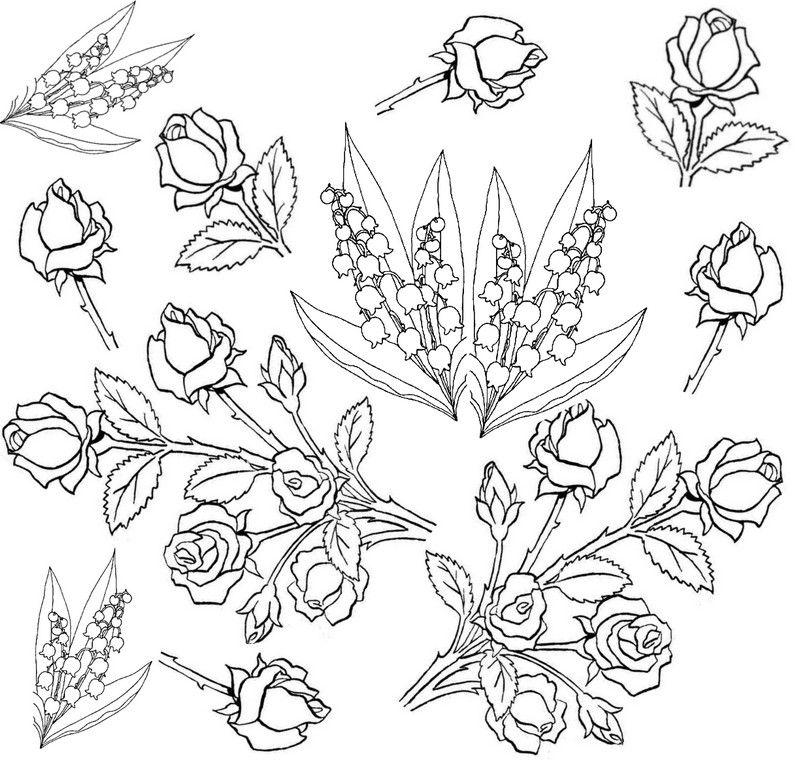 Blumen: Rosen und Maiglöckchen | coloring 3 | Pinterest | Blumen ...
