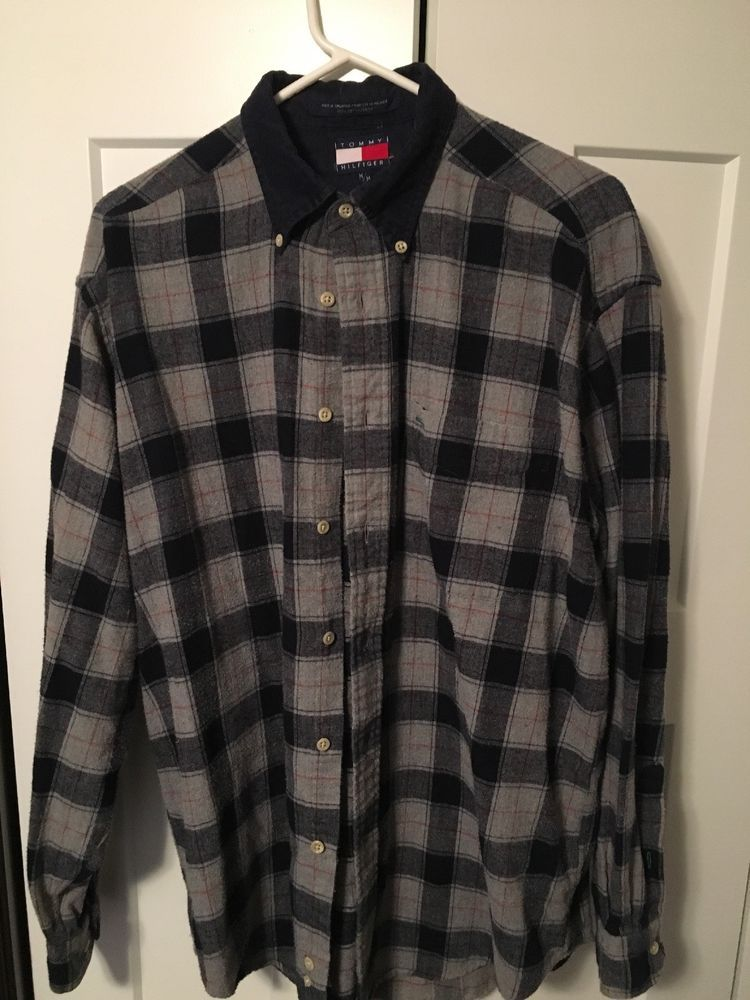 6b907287 Vintage Mens Medium Tommy Hilfiger Button Down Crest logo Plaid Flannel 90s  #fashion #clothing #shoes #accessories #mensclothing #shirts (ebay link)
