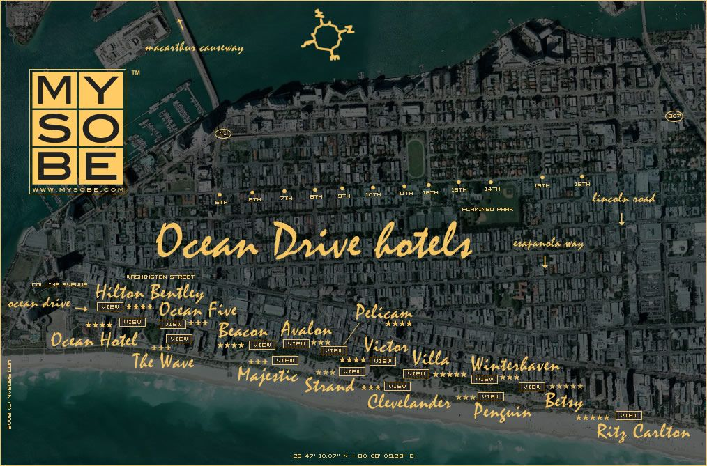 map hotels in ocean drive south beach   miami hotels south
