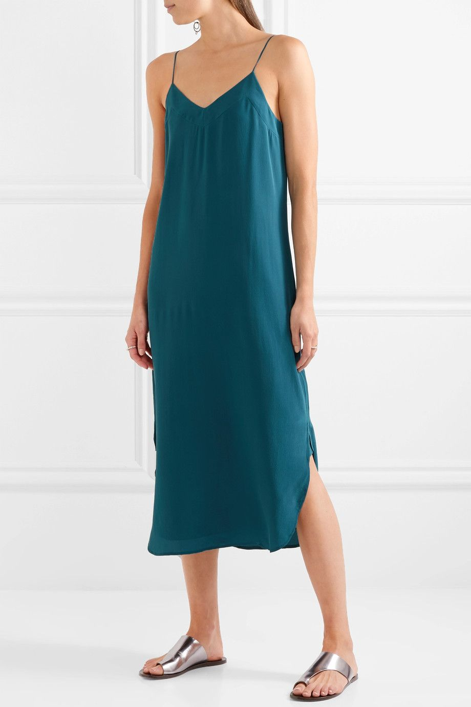 Dian Washed-silk Midi Dress - Teal Equipment Cheap Sale Visit Top Quality Cheap Price Shop For Sale Online Purchase Your Favorite EeWJHhM