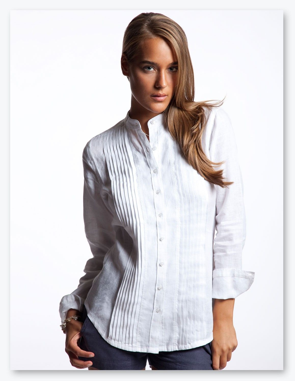 Women's White Mykonos Linen Shirt from Island Company ...