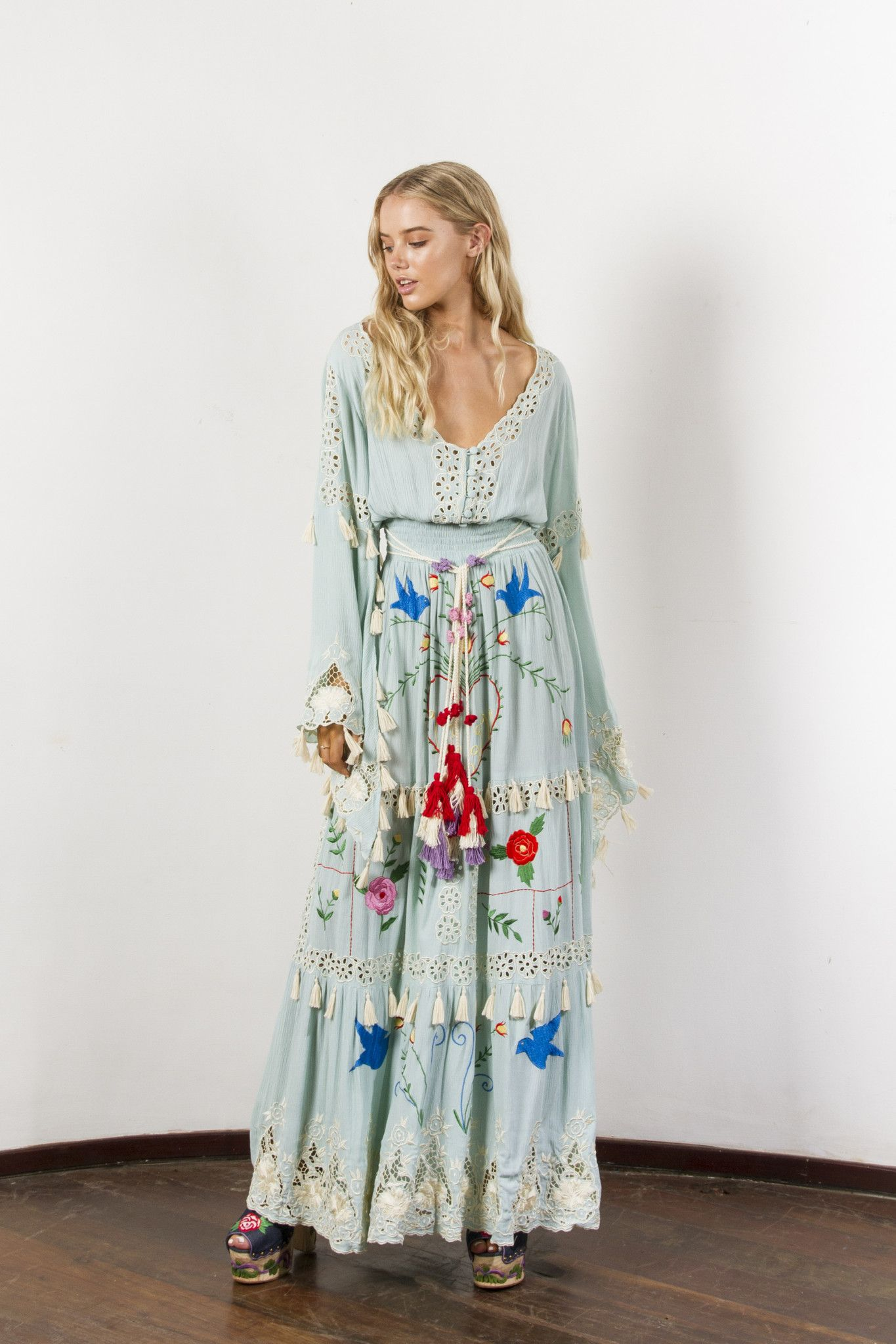 b18e2a58573 little bear  - hand embroidered maxi dress - pastel jade in 2018 ...
