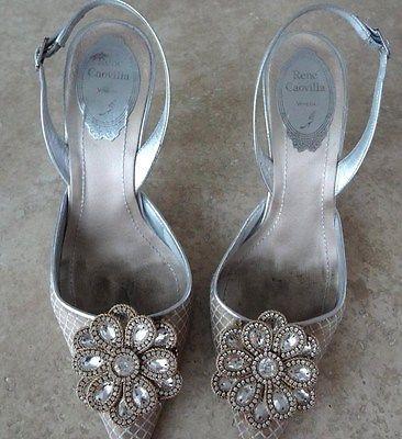 Auth-RENE-CAOVILLA-Swarovski-Crystal-Rhineston-FLOWER-Nude-SLINGBACK-Shoe-Sandal