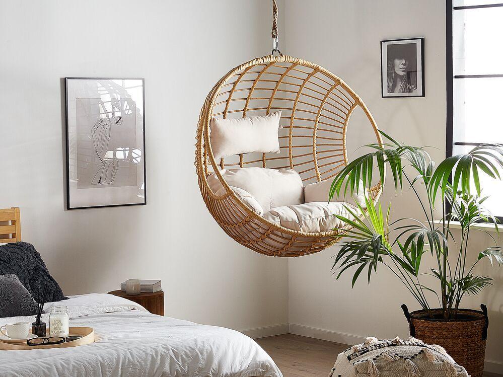 Rattan Hanging Chair Beige ASPIO in 2020 Hanging chair