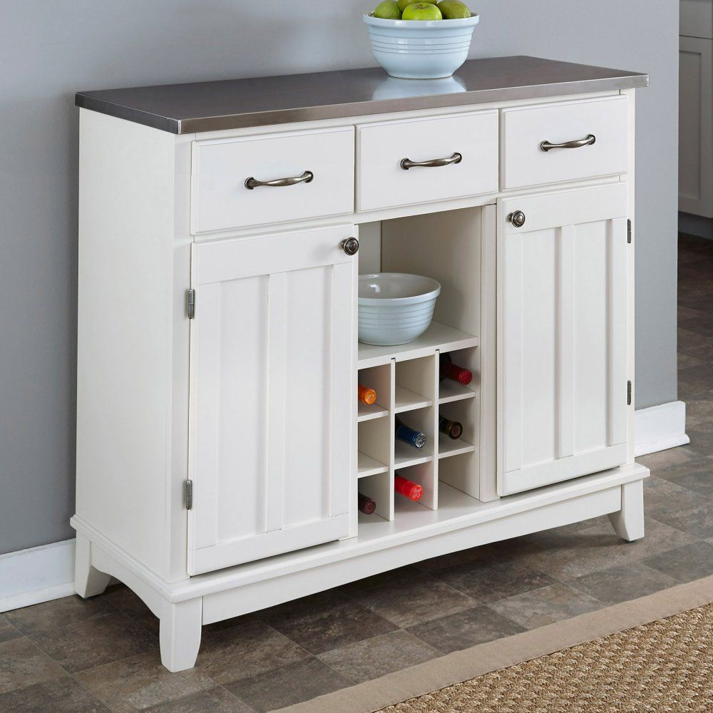 Home Styles Large Wood Server Kitchen Island Server With Wine Rack Kitchen Buffet Cabinet Kitchen Sideboard Wood Buffet