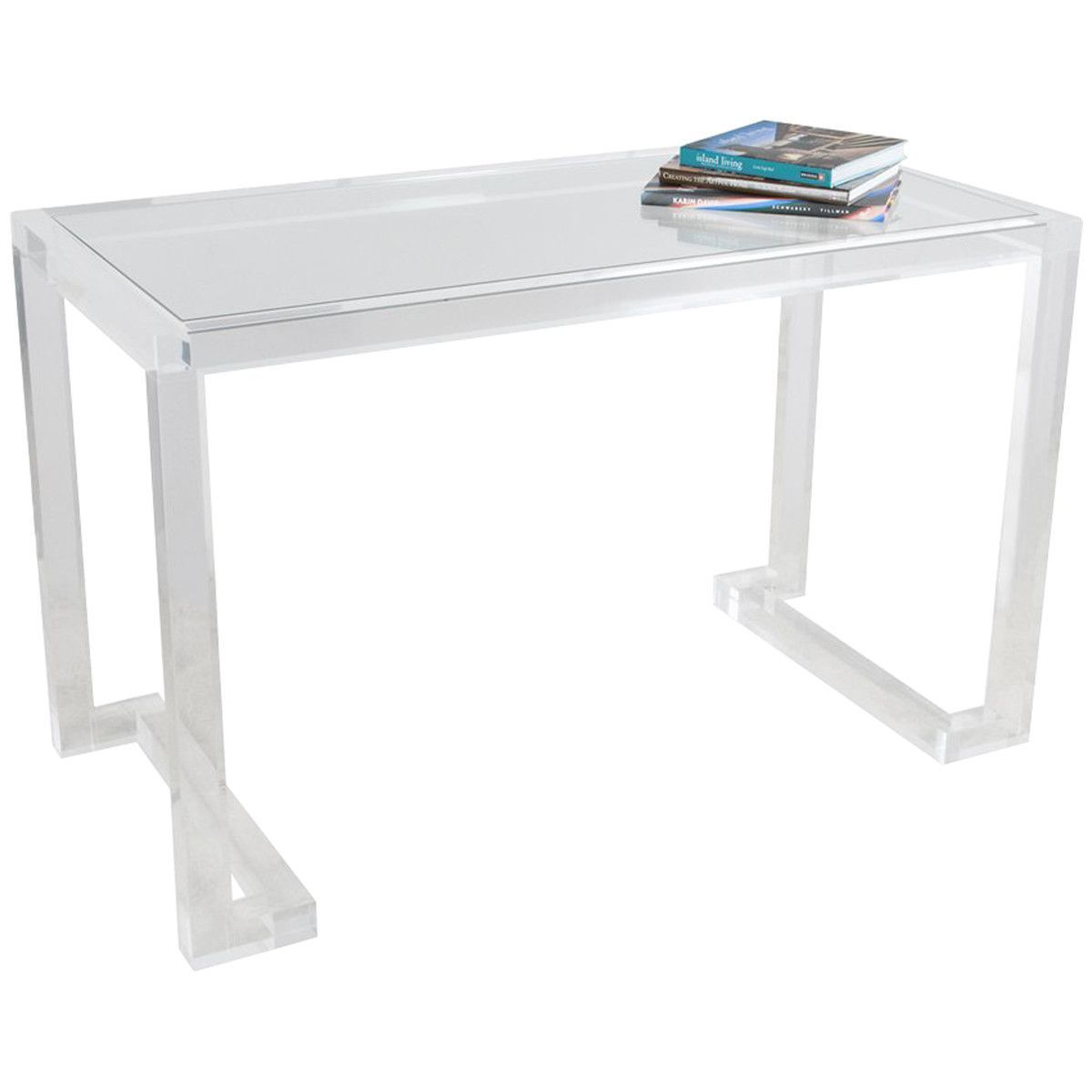 Interlude Home Ava Acrylic Clear Desk Clear Desk Desk Glass Desk