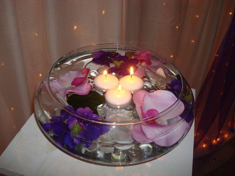 Floating tea lights and flower petals