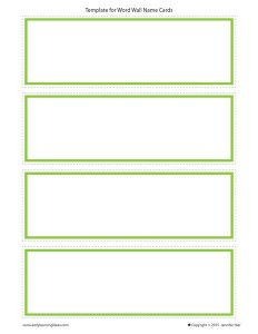 Name Cards Make Name Cards For Your Word Wall Word Wall Word Wall Template Word Wall Cards